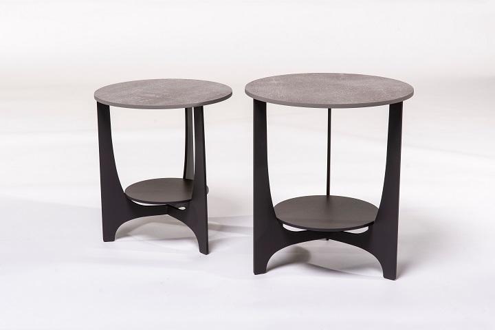 Parabol keramiek beton+zwart (set van 2)