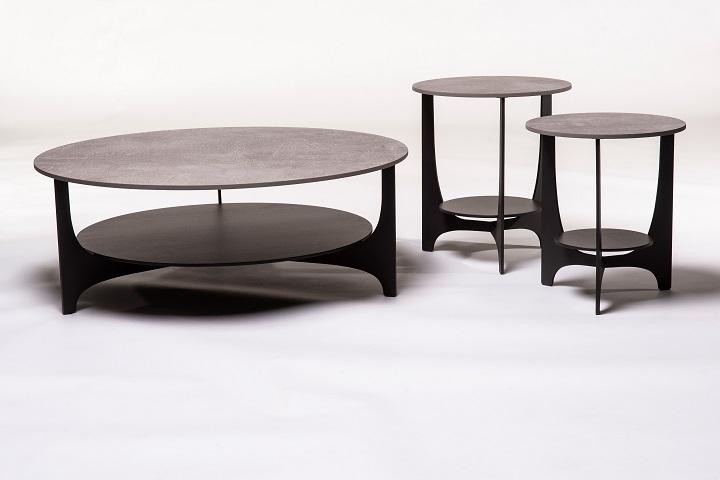 Parabol keramiek beton+zwart (set van 3)