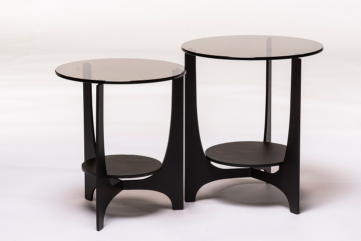 Parabol brons glas + keramiek opium black (set van 2)